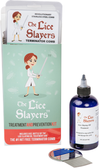 The Lice Slayers Treatment and Prevention Kit, includes lice slaying oil, nit free comb and instructions