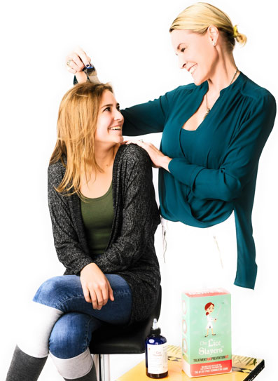 Lady applying The Lice Slayers Lice Treatment and Prevention to person